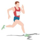Athlete on running race, silhouettes. Vector Royalty Free Stock Images