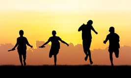 Athlete  running   at sunset Royalty Free Stock Photography