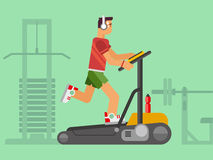 Athlete Running on a Treadmill. Concept flat vetor illustration Royalty Free Stock Photography