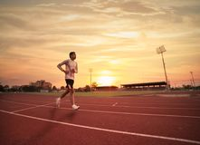 Athlete runs around the stadium. In the morning Stock Images