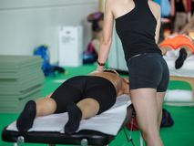 Athlete`s Back Professional Massage after Fitness Activity - Wellness and Sport stock image