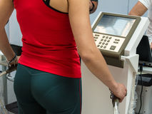 Athlete's Doing Body Compostition Analysis before Fitness Activi Stock Photo