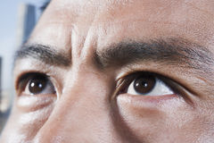 Athlete's eyes looking up, close-up Royalty Free Stock Image
