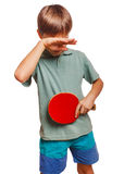 Athlete sadness depression disorder blond man boy. Playing table tennis forehand takes topspin isolated emotion Stock Photo