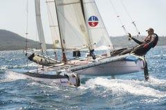 Athlete sailing on Formula 18 national catamaran race, Royalty Free Stock Photos