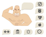 Athlete says - wide smile. Bodybuilder torso with speech bubbles. Dumbbell, protein, timer, steroids, food, heart rate, kettlebell, stop steroids. Web site Royalty Free Stock Image