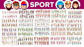 Athlete Set Vector. Man, Woman. Group Of Sports People In Uniform, Apparel. Sportsman Character In Game Action. Flat. Athlete Set Vector. Man, Woman. Group Of vector illustration