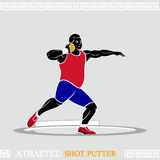 Athlete Shot putter. Greek art stylized shot putter in action Royalty Free Stock Photos