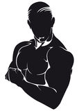 Athlete, silhouette isolated on white Royalty Free Stock Photography