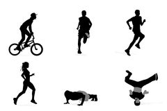 Athlete silhouettes Royalty Free Stock Image