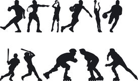 Athlete Silouettes Royalty Free Stock Images
