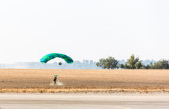 Athlete skydiver landed safely Stock Photo
