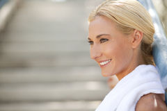 Athlete Smiling with copy space Royalty Free Stock Image