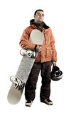 Athlete snowboarder. The guy with snowboard in the hands Royalty Free Stock Photo