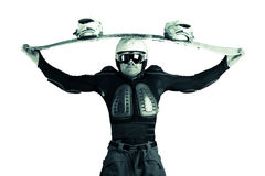 Athlete snowboarder. The guy with snowboard in the hands Royalty Free Stock Photos