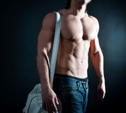 Athlete with sports bag Royalty Free Stock Image