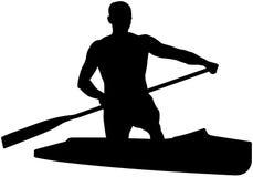 Athlete sports canoe with paddle Stock Photo