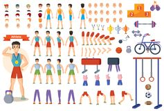 Athlete sportsman cartoon constructor man character body parts and training poses isolated icons. Man athlete constructor of cartoon character and gym equipment royalty free illustration
