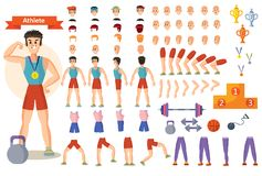 Athlete sportsman vector cartoon constructor of man character body parts and training poses isolated icons. Man athlete in gym vector cartoon character Royalty Free Stock Image