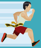 Athlete in Sprint Race Reach the Finish Line, Vector Illustration. Athlete finishing the race and getting to the finish line Stock Images