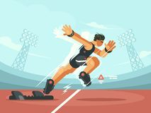Athlete sprint start. From pads to compete run. Vector illustration stock illustration