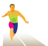The athlete sprinter wins his race Royalty Free Stock Images
