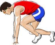 Athlete Sprinting. Isolated on White Background stock illustration