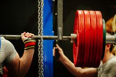 Athlete squat with barbell royalty free stock photo