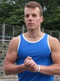 Athlete in the stadium Stock Photo