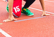 Athlete at the start line Royalty Free Stock Photos