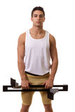 Athlete With Starting Block Stock Images