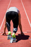 Athlete on a starting block about to run. Rear view of determined athlete on a starting block about to run Royalty Free Stock Photos