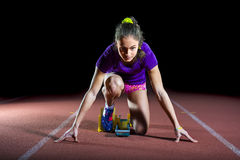 Athlete on the starting block Royalty Free Stock Photo