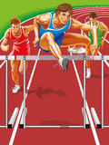 Athlete steeplechase. Jumps barrier. Vector illustration. Iliustration Vector Runner jumping hurdles Royalty Free Illustration