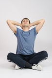 Athlete stretching his neck, leaned back Stock Image