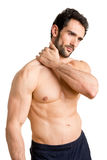 Athlete Suffering Fom Neck Pain Stock Photo