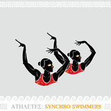 Athlete synchro swimmers Stock Photo