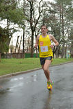 Athlete is taking part in duathlon competition Royalty Free Stock Photos