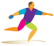 Athlete thrower disc. Is preparing to make a record throw Royalty Free Stock Images