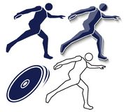 Athlete throwing discus flat icon, outline icon on white backgro. Und, vector set Royalty Free Stock Image