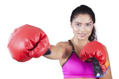 Athlete throwing a punch on the camera Royalty Free Stock Photography