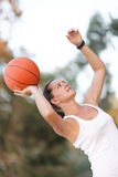Athlete throws a ball Royalty Free Stock Photography