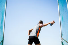 Athlete about to throw a discus Royalty Free Stock Images