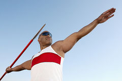 Athlete About To Throw Javelin. Half length Stock Photography