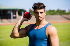 Athlete about to throw shot put ball Royalty Free Stock Image