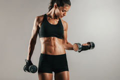 Athlete with toned muscular body lifting dumbbell Stock Photography