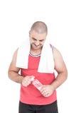 Athlete with towel around neck Royalty Free Stock Photo