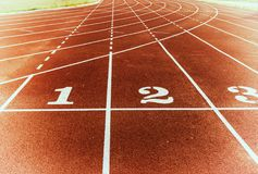Free Athlete Track Or Running Track With Lane Numbers 1 To 3 With Sta Stock Photography - 101850082