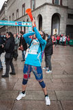Athlete with trumpet at Stramilano half marathon Royalty Free Stock Photos