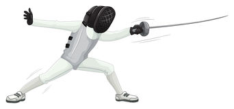 Athlete in uniform doing fencing Stock Photography